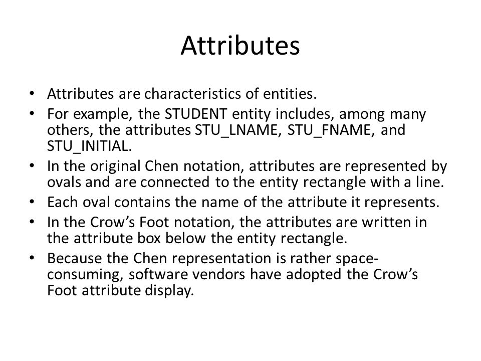 Attributes Attributes are characteristics of entities.