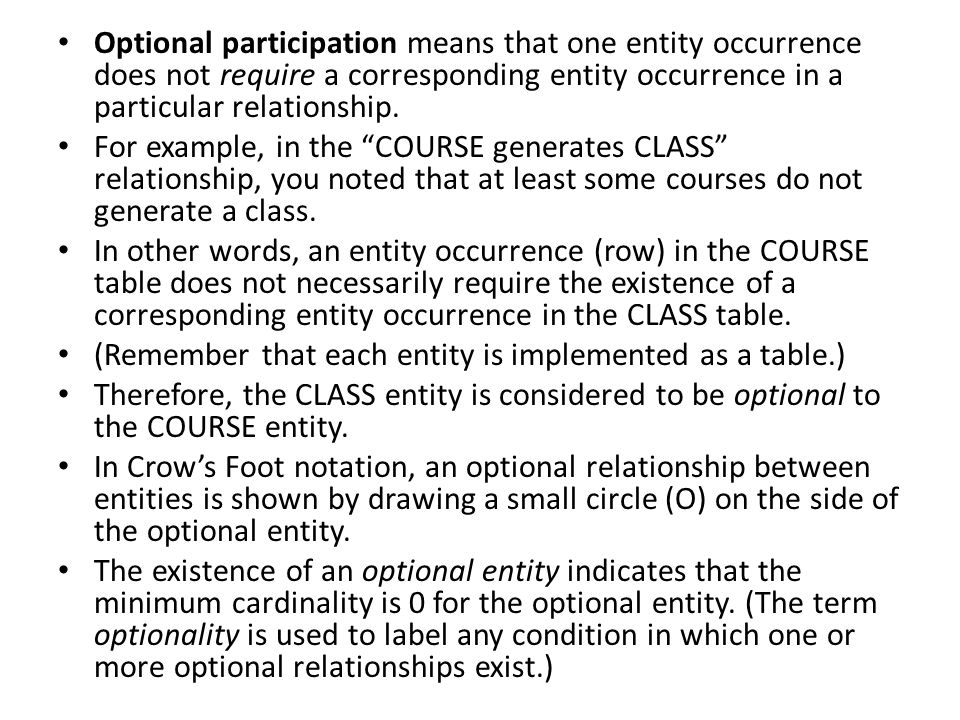 Optional participation means that one entity occurrence does not require a corresponding entity occurrence in a particular relationship.