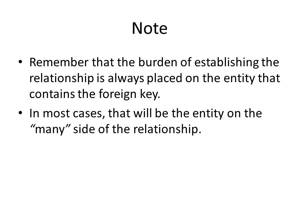 Note Remember that the burden of establishing the relationship is always placed on the entity that contains the foreign key.