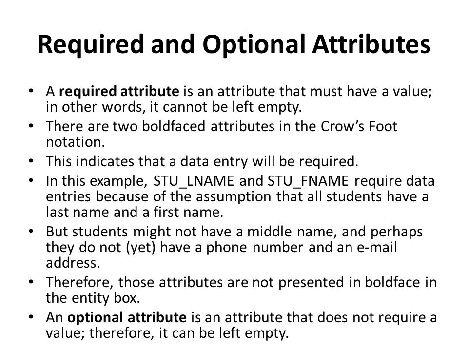 Required and Optional Attributes