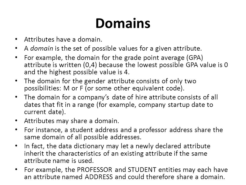 Domains Attributes have a domain.