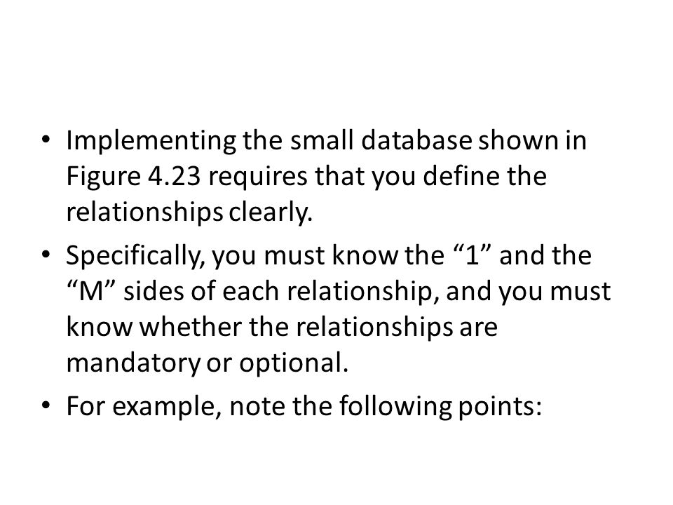 Implementing the small database shown in Figure 4