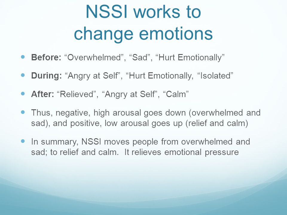 NSSI works to change emotions