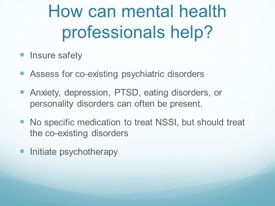 How can mental health professionals help