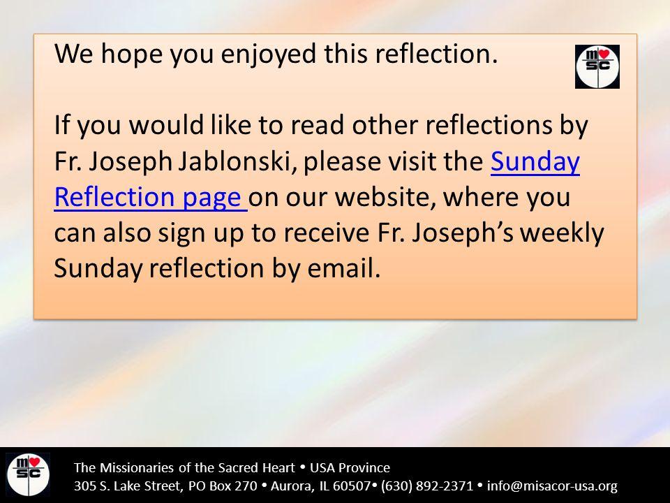 We hope you enjoyed this reflection