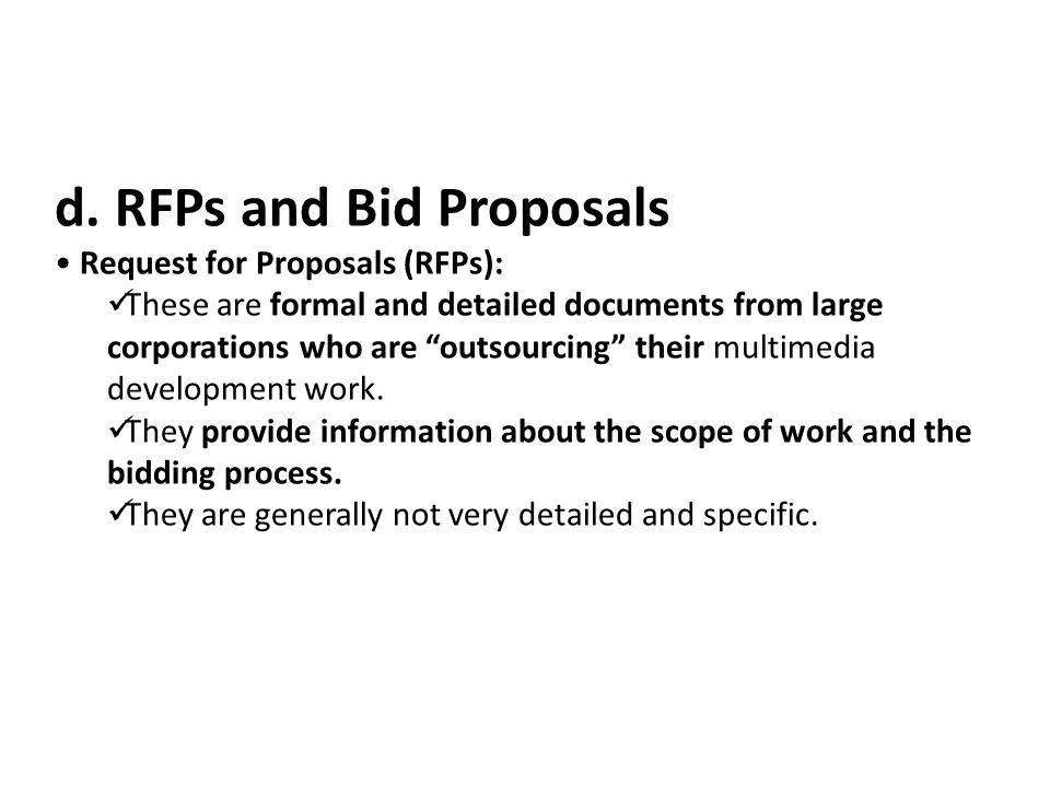 d. RFPs and Bid Proposals