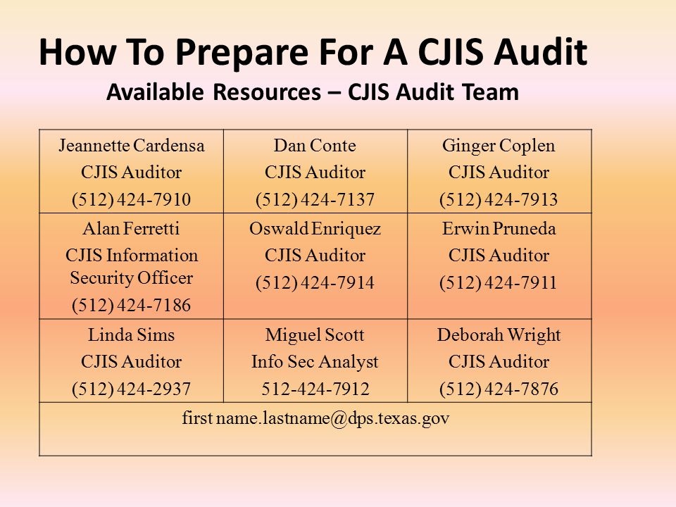How To Prepare For A CJIS Audit Available Resources – CJIS Audit Team
