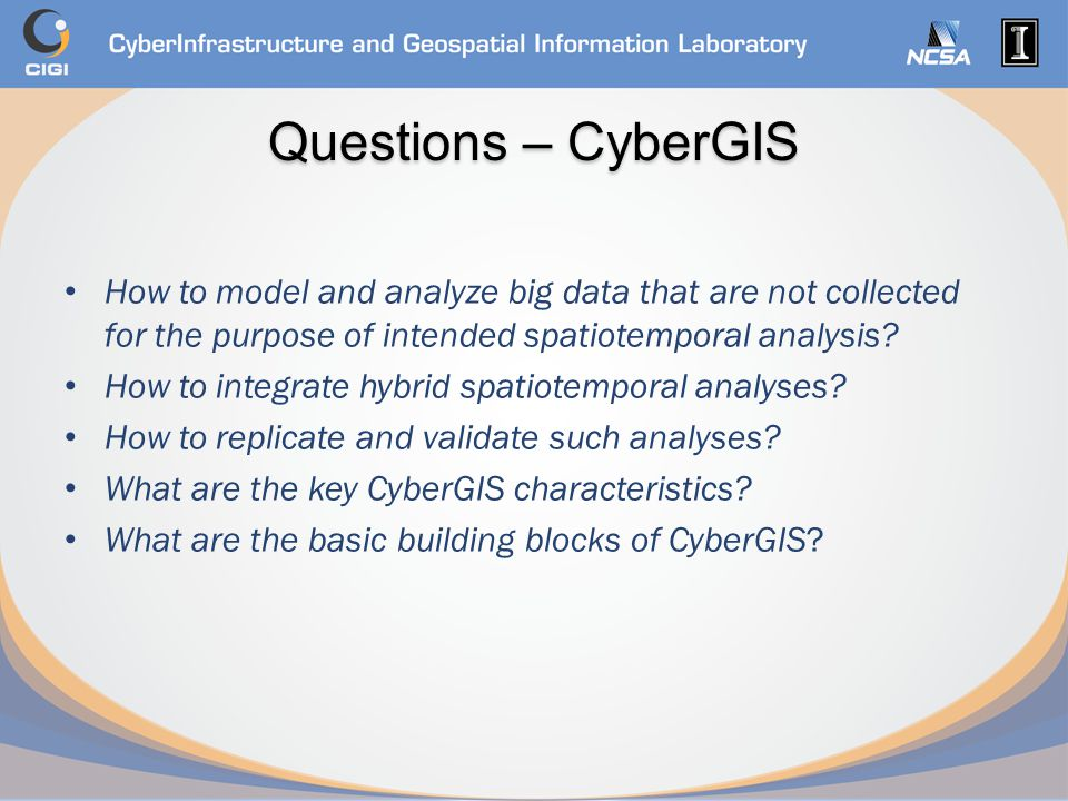 Questions – CyberGIS How to model and analyze big data that are not collected for the purpose of intended spatiotemporal analysis