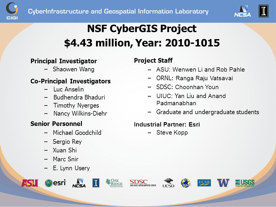 NSF CyberGIS Project $4.43 million, Year: 2010-1015