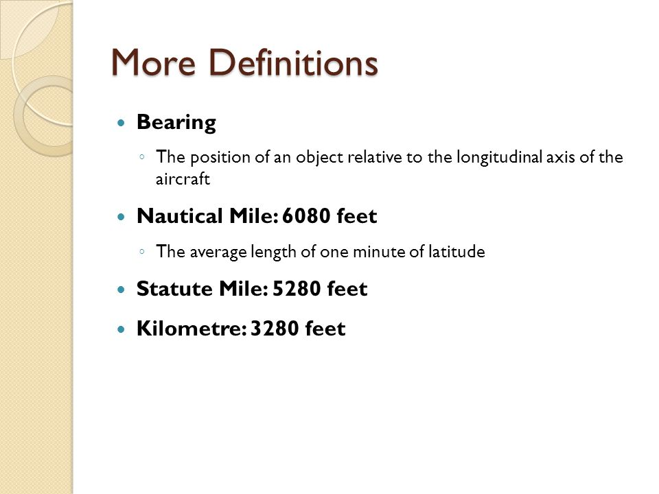 More Definitions Bearing Nautical Mile: 6080 feet