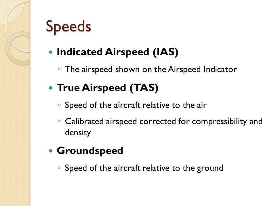 Speeds Indicated Airspeed (IAS) True Airspeed (TAS) Groundspeed