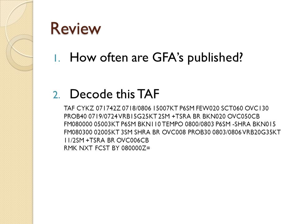 Review How often are GFA's published Decode this TAF