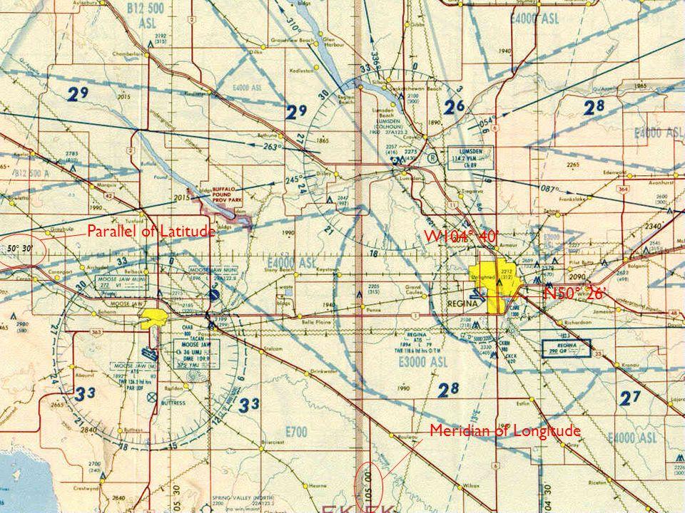 Parallel of Latitude W104° 40' 50° 30' N50° 26' Meridian of Longitude