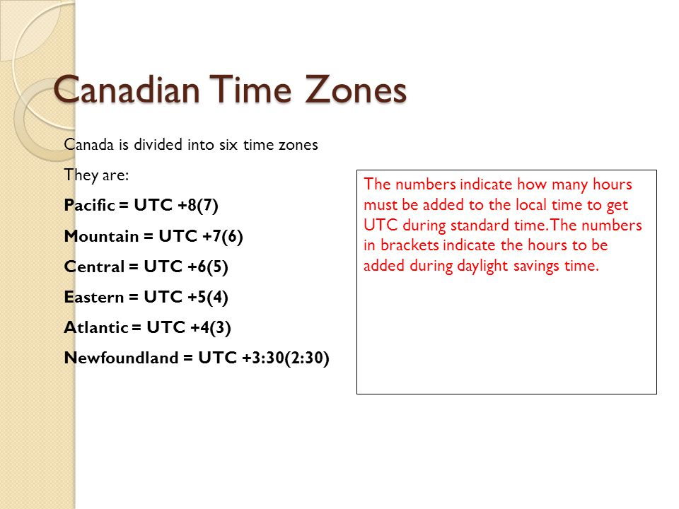 Canadian Time Zones Canada is divided into six time zones They are: