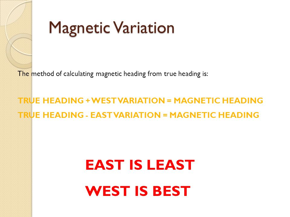 Magnetic Variation EAST IS LEAST WEST IS BEST