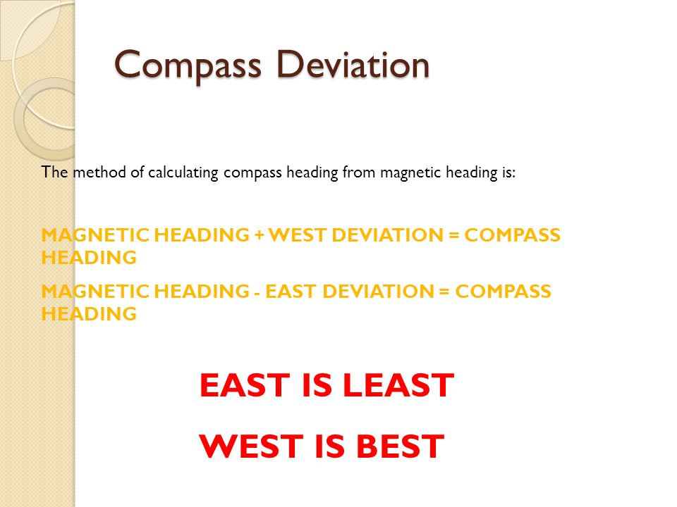 Compass Deviation EAST IS LEAST WEST IS BEST
