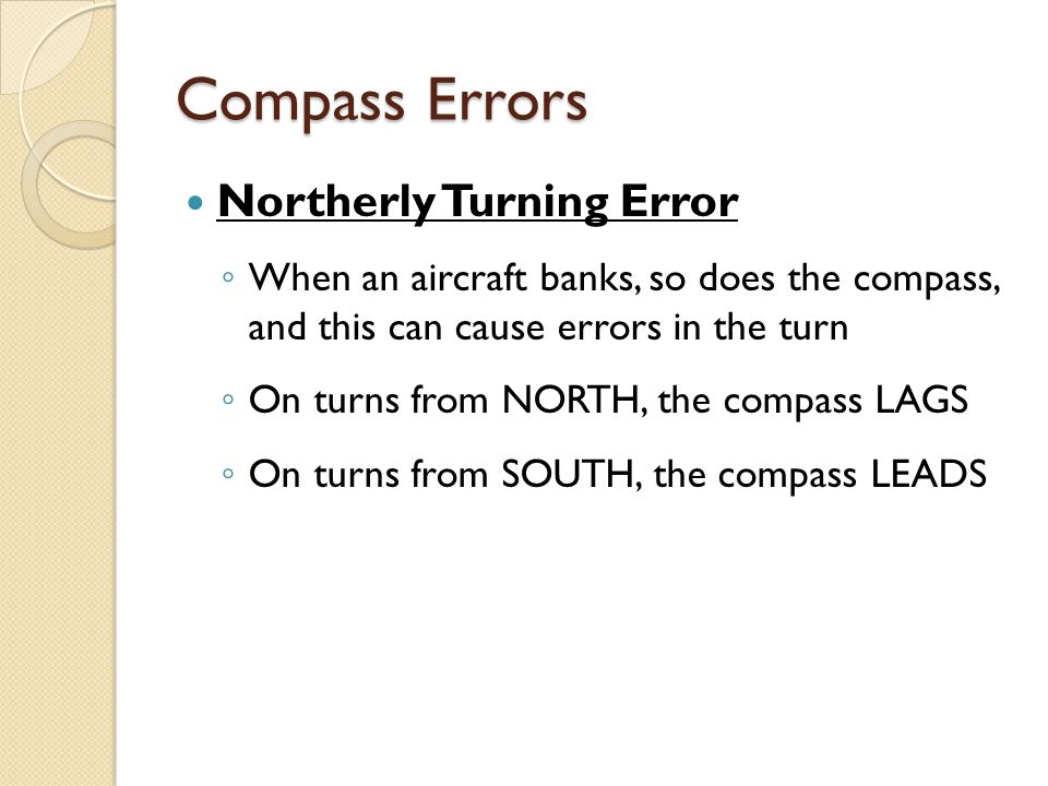 Compass Errors Northerly Turning Error