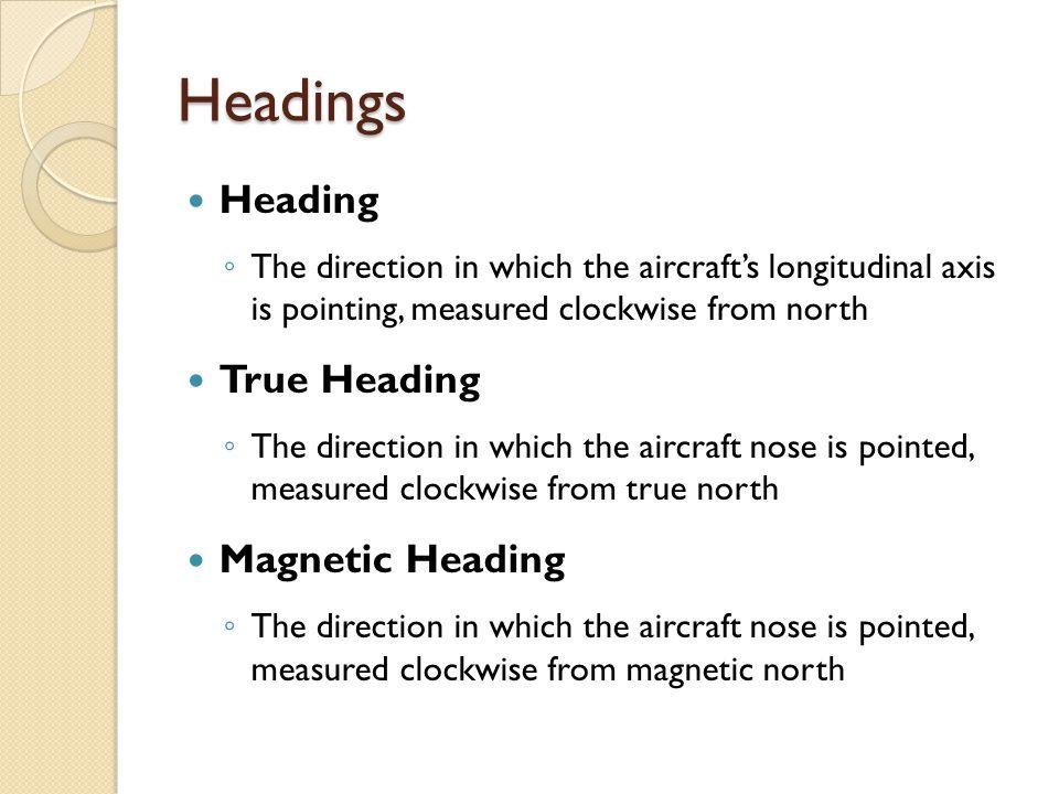 Headings Heading True Heading Magnetic Heading