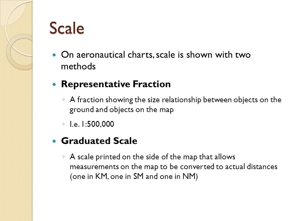 Scale On aeronautical charts, scale is shown with two methods