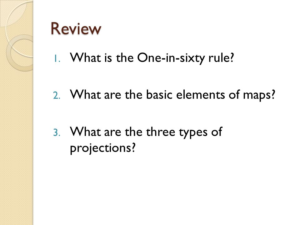 Review What is the One-in-sixty rule
