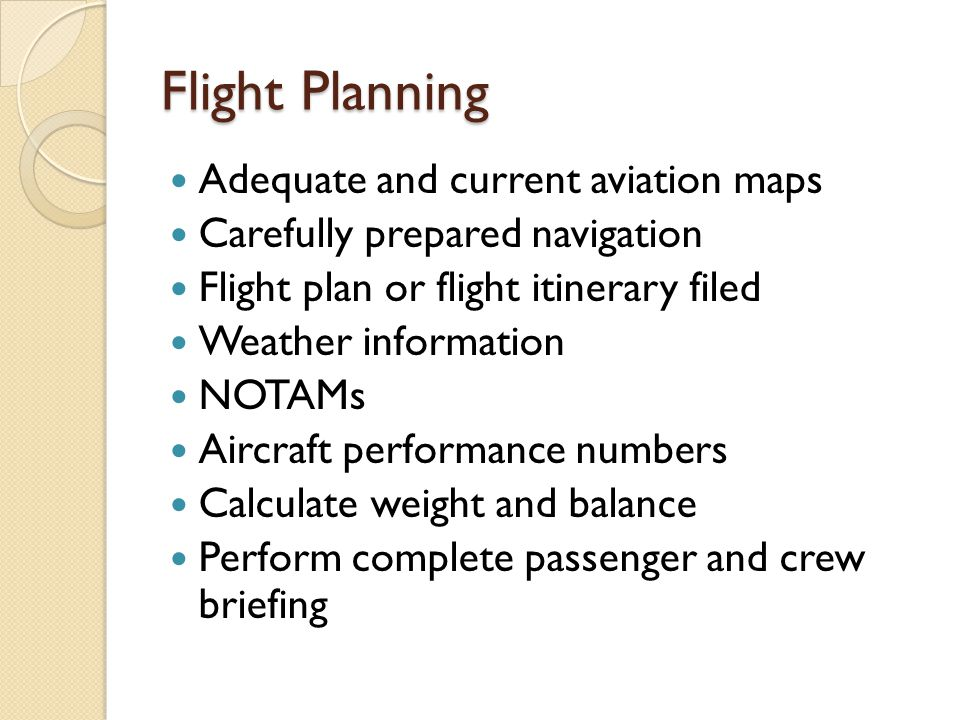 Flight Planning Adequate and current aviation maps