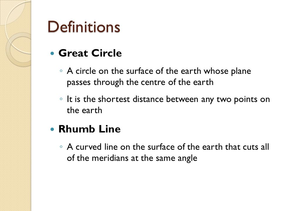 Definitions Great Circle Rhumb Line
