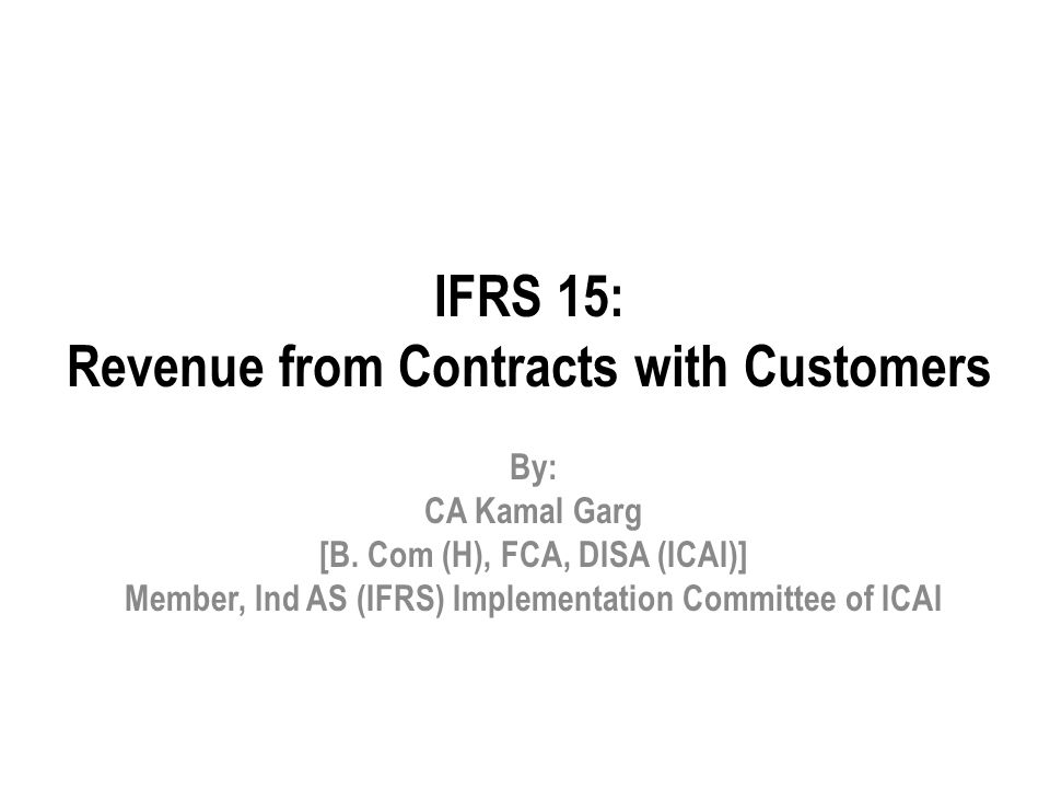 IFRS 15: Revenue from Contracts with Customers
