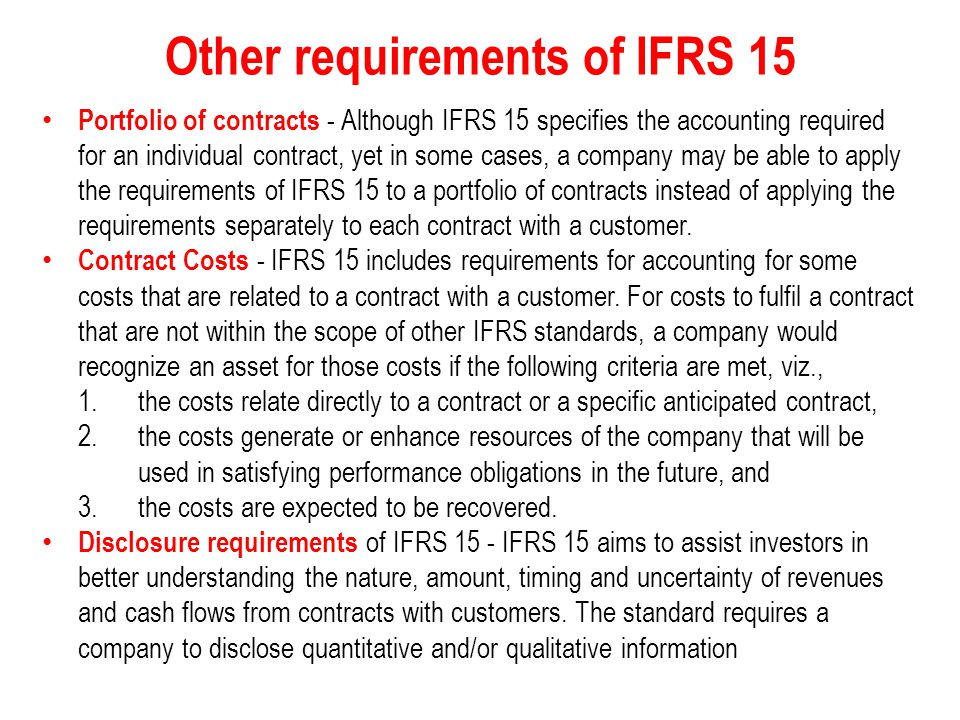 Other requirements of IFRS 15