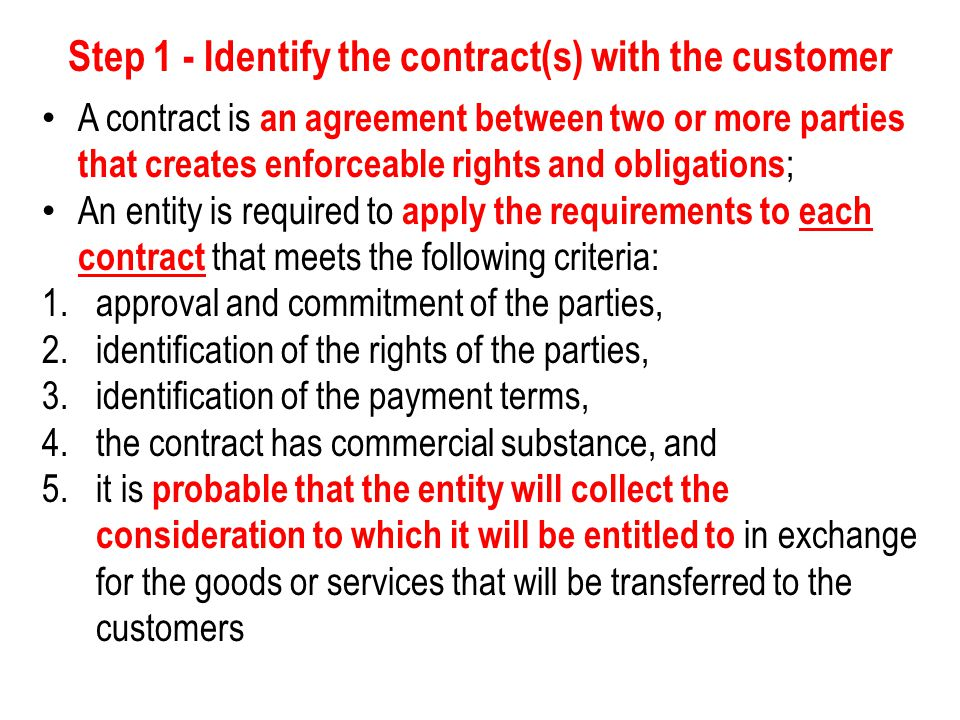 Step 1 - Identify the contract(s) with the customer