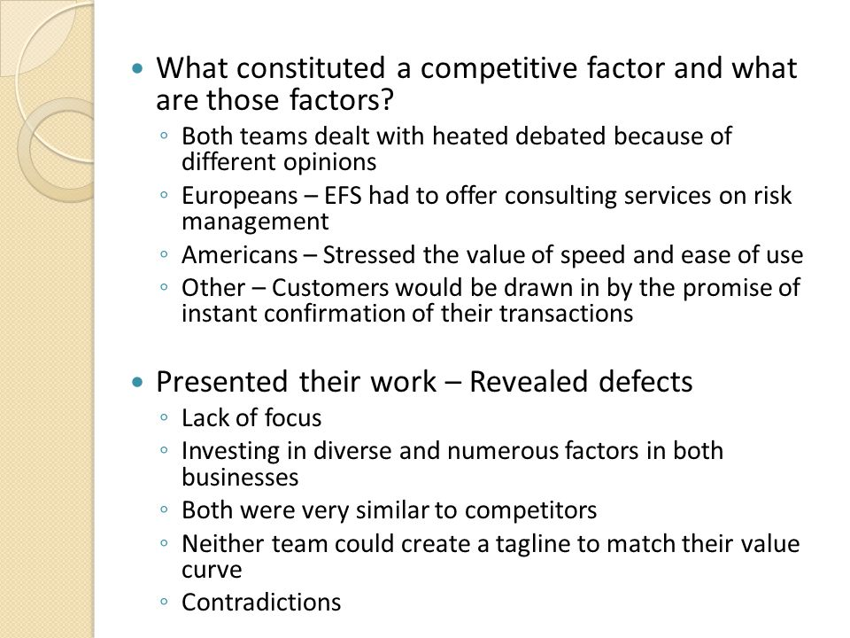 What constituted a competitive factor and what are those factors