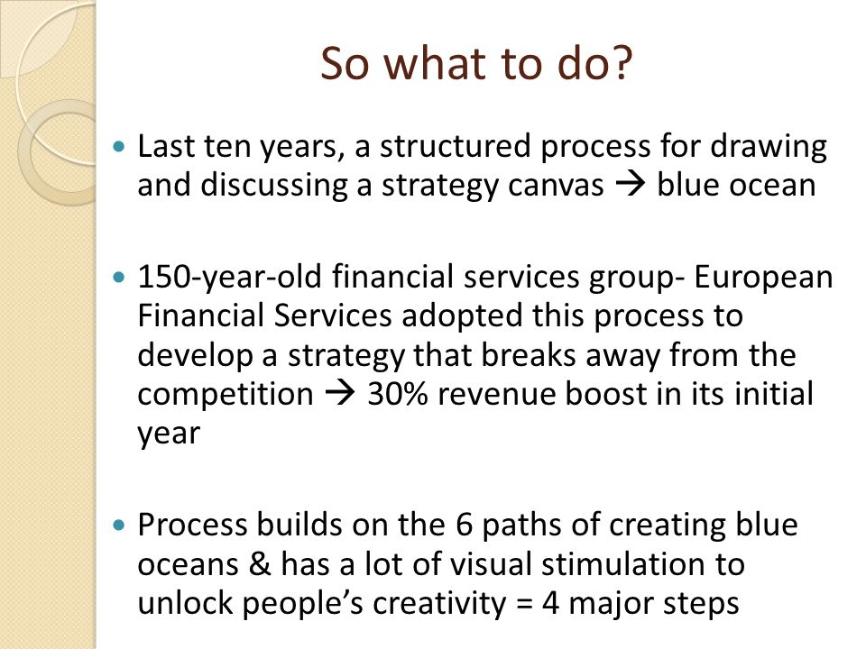 So what to do Last ten years, a structured process for drawing and discussing a strategy canvas  blue ocean.