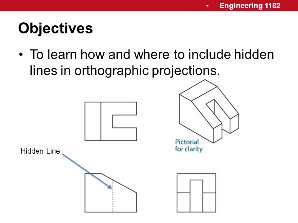 Objectives To learn how and where to include hidden lines in orthographic projections. Hidden Line.