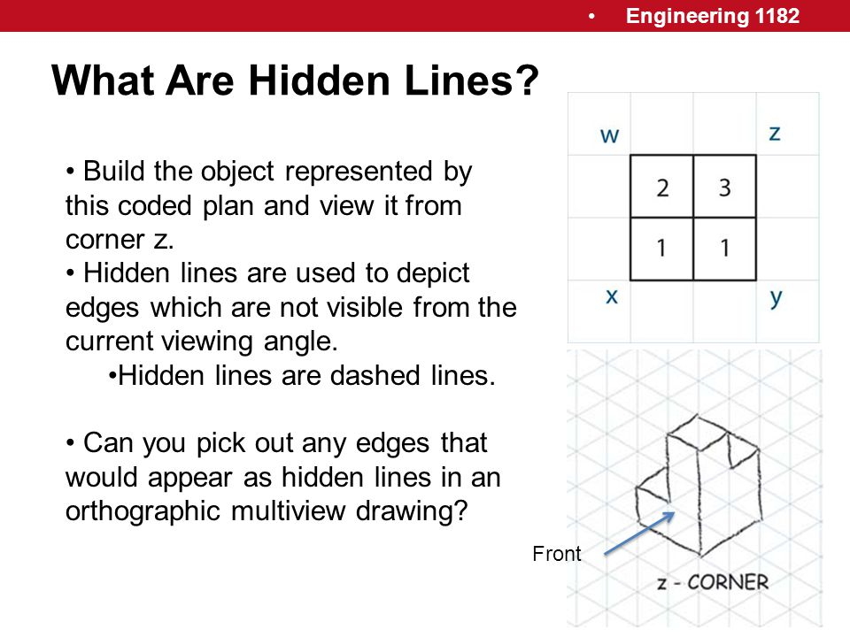 What Are Hidden Lines Build the object represented by this coded plan and view it from corner z.