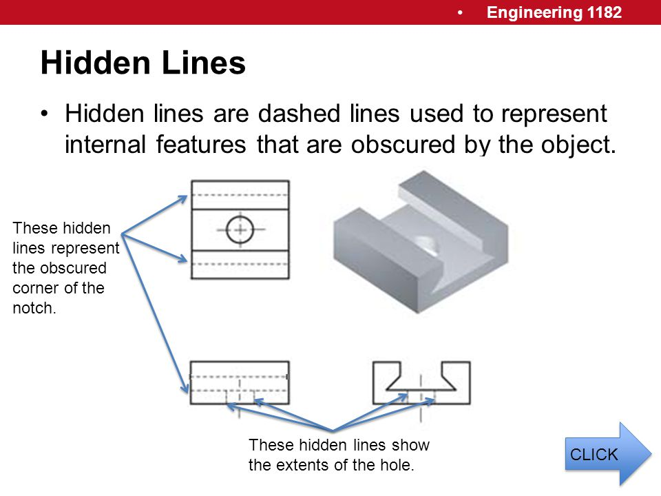 Hidden Lines Hidden lines are dashed lines used to represent internal features that are obscured by the object.