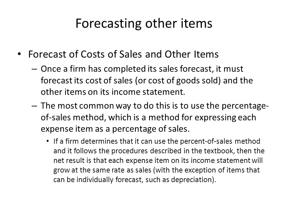 Forecasting other items