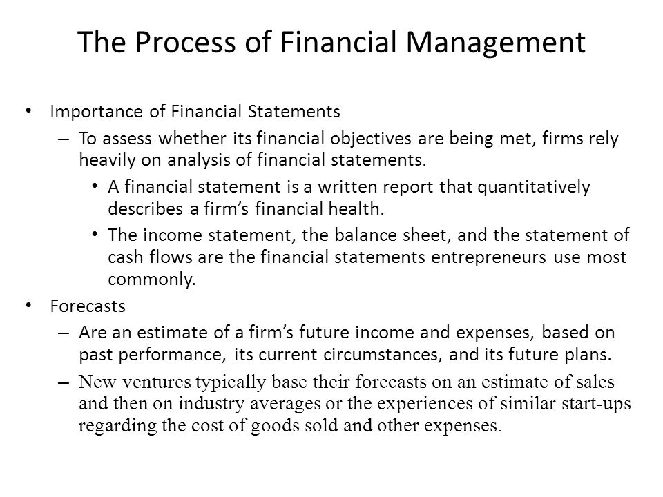 The Process of Financial Management