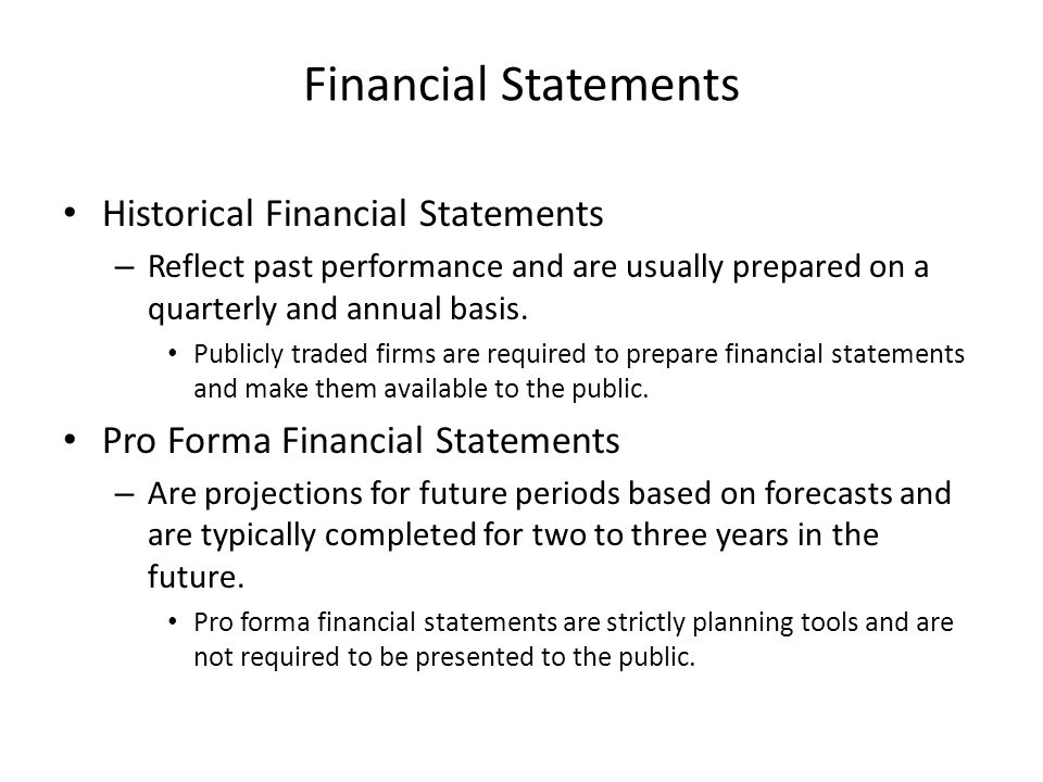Financial Statements Historical Financial Statements