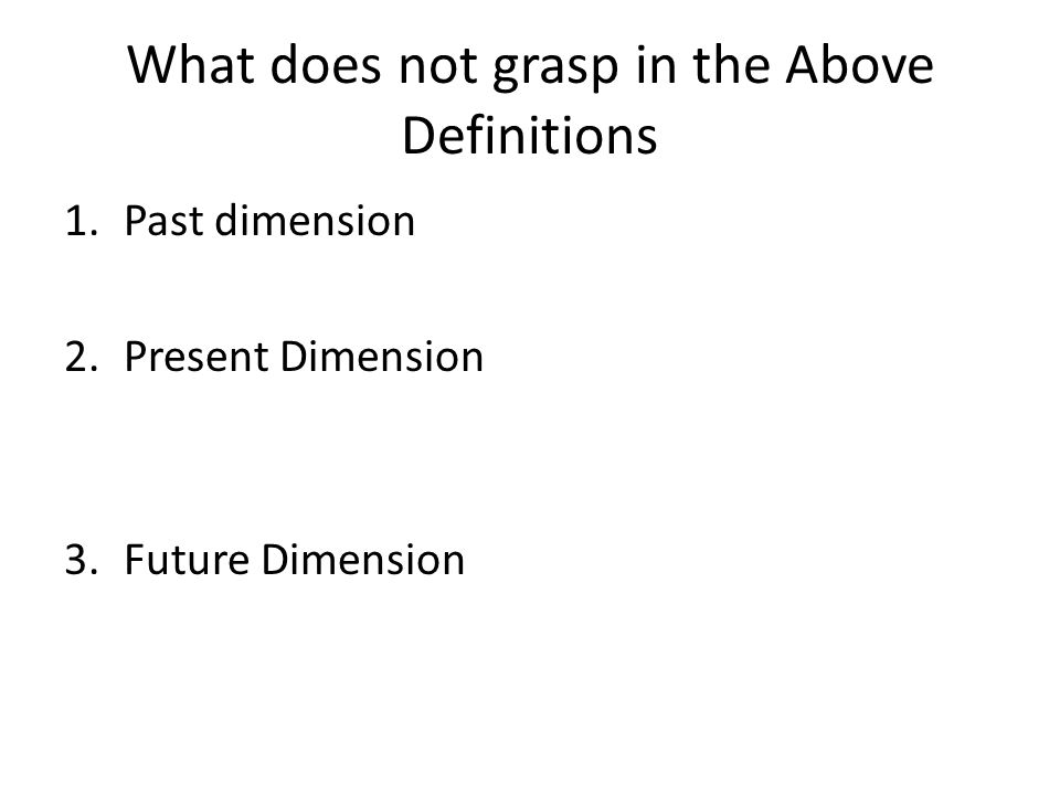What does not grasp in the Above Definitions