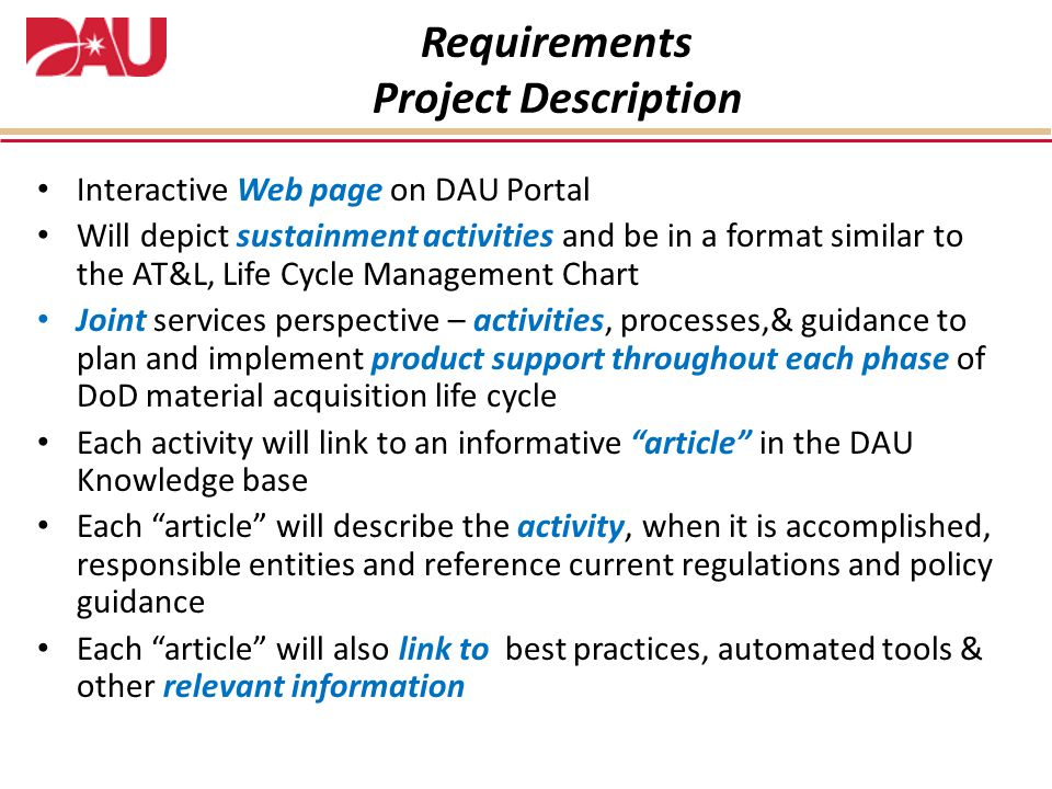 Requirements Project Description
