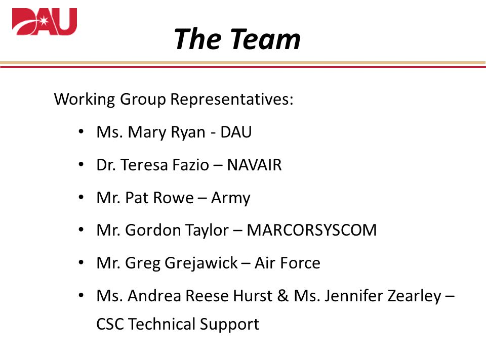 The Team Working Group Representatives: Ms. Mary Ryan - DAU