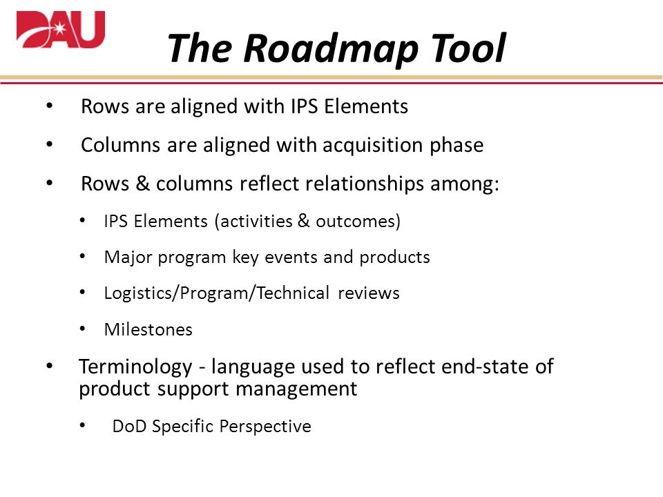 The Roadmap Tool Rows are aligned with IPS Elements