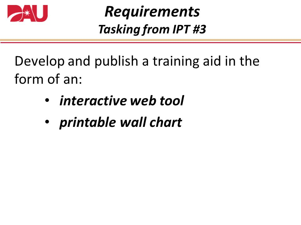Requirements Develop and publish a training aid in the form of an: