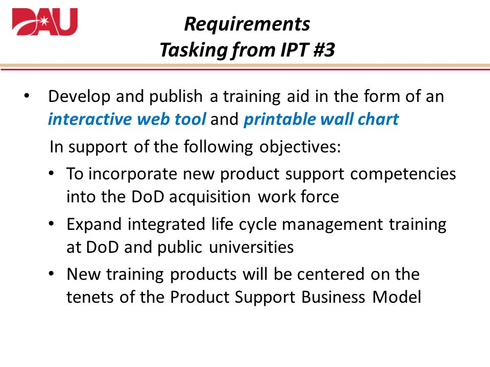 Requirements Tasking from IPT #3
