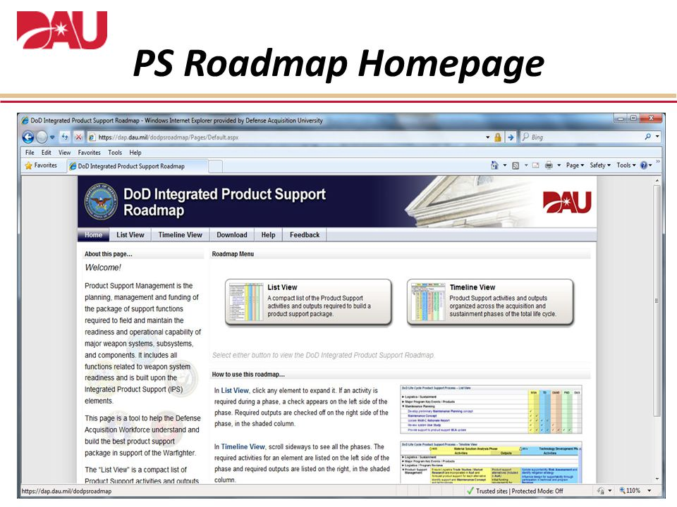 PS Roadmap Homepage Include slide with original wording
