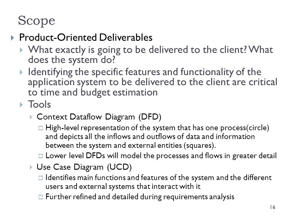 Scope Product-Oriented Deliverables