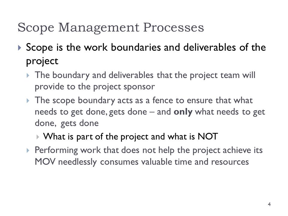 Scope Management Processes