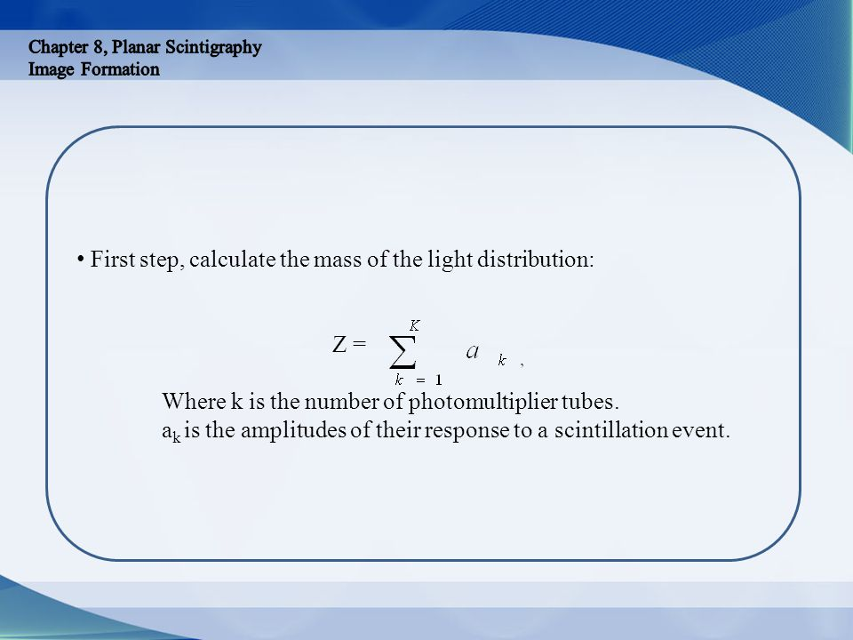 First step, calculate the mass of the light distribution: