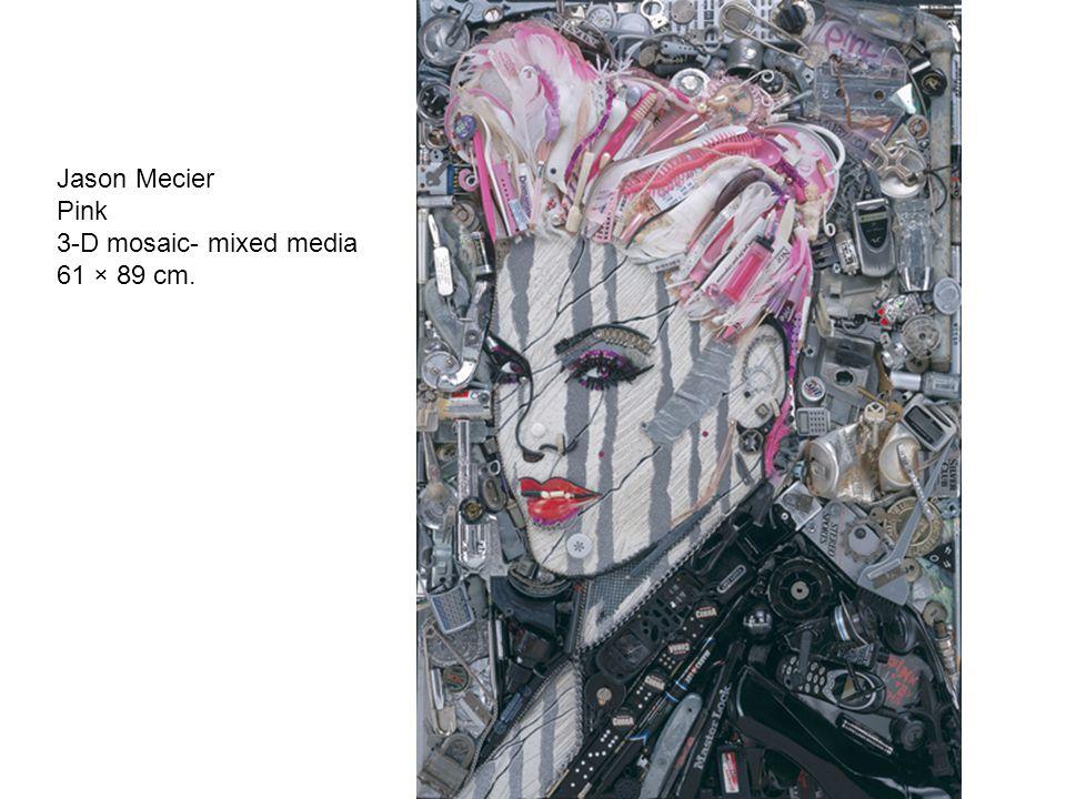 Jason Mecier Pink 3-D mosaic- mixed media 61 × 89 cm.