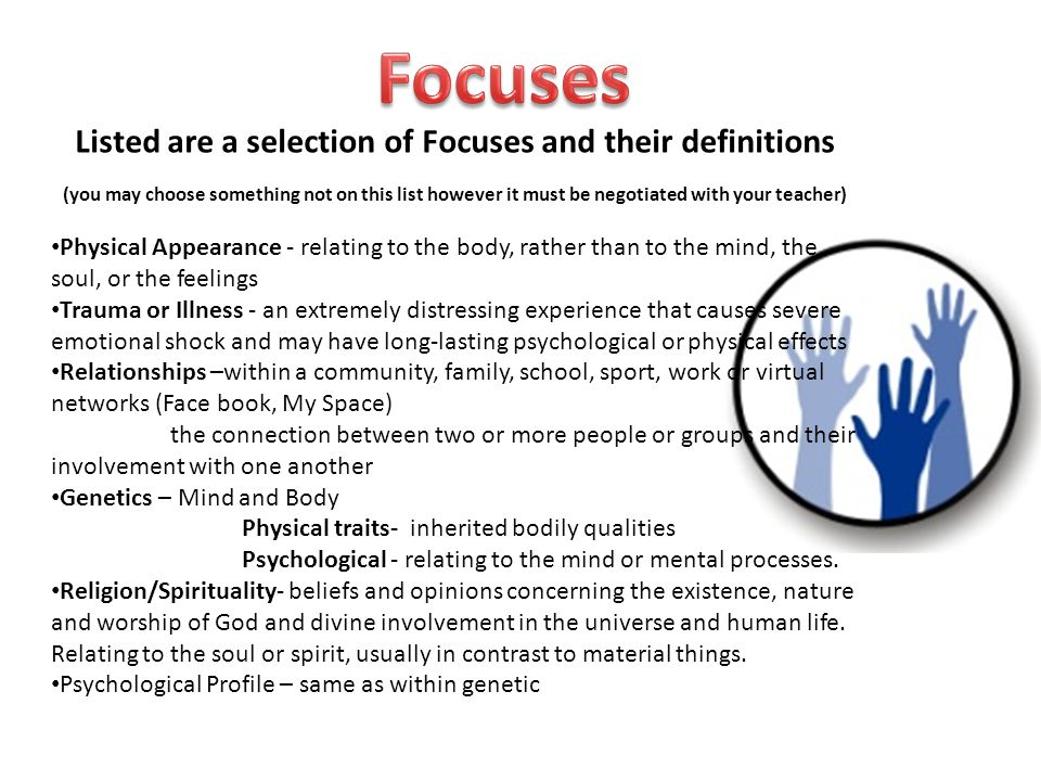 Listed are a selection of Focuses and their definitions
