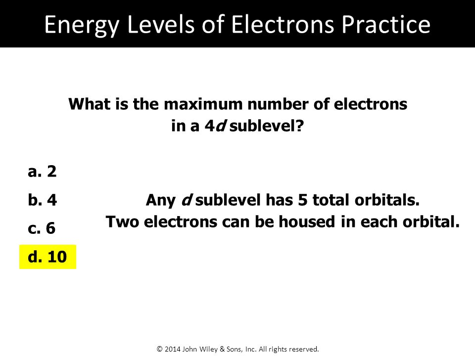 Energy Levels of Electrons Practice
